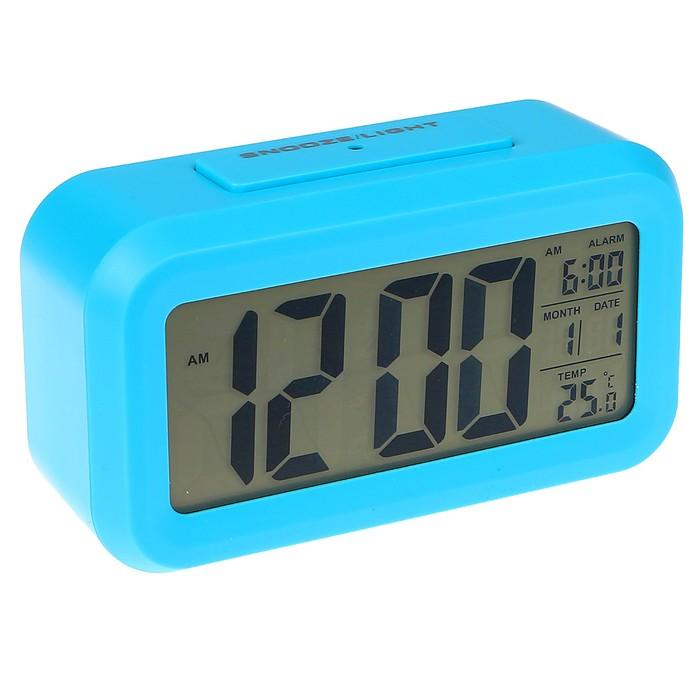Электронные часы-будильник, подсветка, бат. 3AAA, дата, температура, синий, 4.5х8х14 см