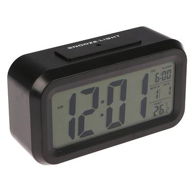 Часы-будильник электронные, подсветка, термометр, батарейки 3AAA не в комплекте, 4.5х8х14 см