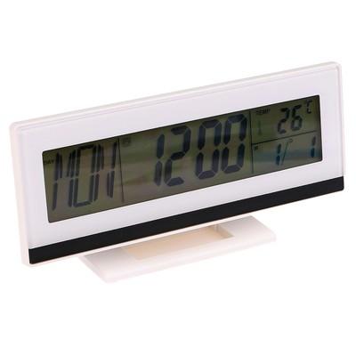 Часы-будильник электронные, с подсветкой на звук, с термометром, белые, 18.5х9.5 см