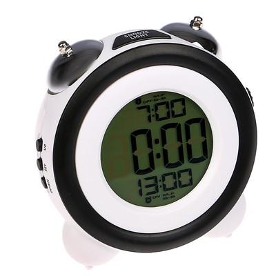 Часы-будильник электронные, с подсветкой, 2 будильника, дата, чёрно-белый, 7х11.5х10.5 см