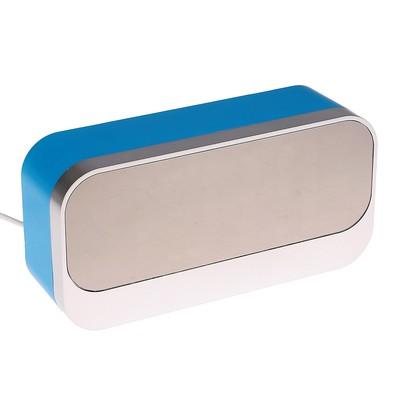 Часы-будильник электронные, белые цифры, с термометром, серебристо-синие, 17х8.5х5 см