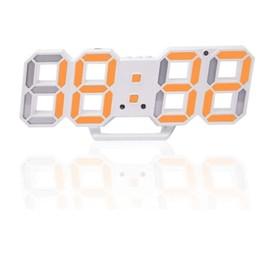 "Часы-будильник электронные ""Цифры"", цифры оранжевые, с термометром, белые, 23х9.5х3 см"