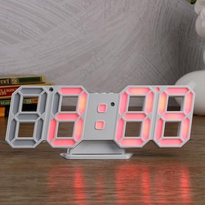 "Часы-будильник электронные ""Цифры"", с термометром, цифры розовые, белые, 23х9.5х3 см"