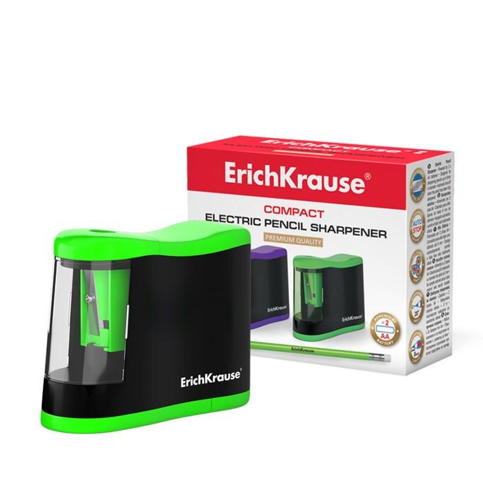 Точилка электрическая Erich Krause Compact, с контейнером, работает от 2-х батареек типа АА, отверстие диаметром 8 мм, микс