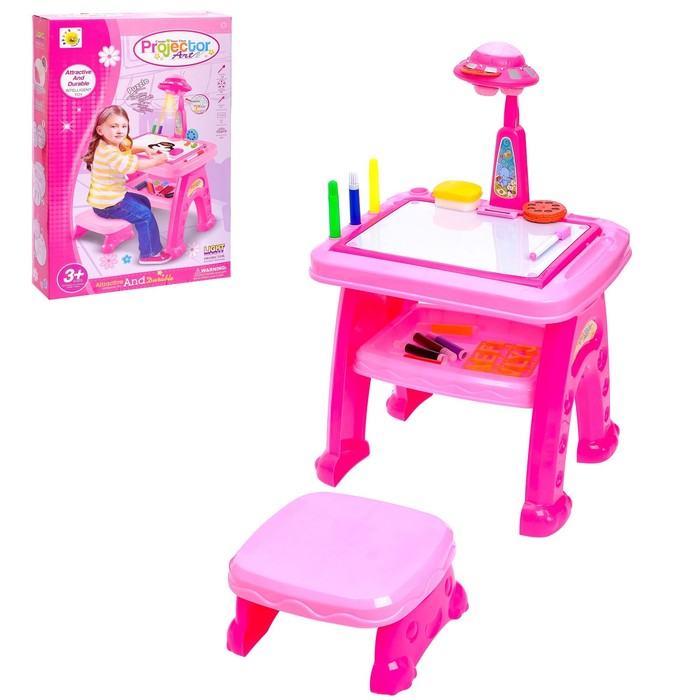 "Развивающий стол-проектор ""Любимая малышка"" с табуретом, маркерами, английским алфавитом"