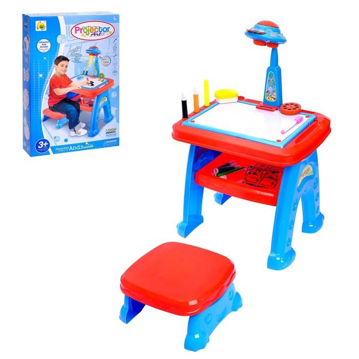"Развивающий стол-проектор ""Любимый малыш"" с табуретом, маркерами, английским алфавитом"