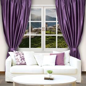 Штора портьерная 'Этель' 200х250, цвет фиолетовый, сатен, 100% п/э Ош