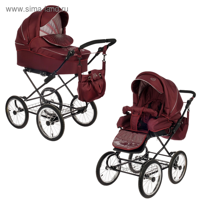 Коляска детская 2 в 1 «Нежность», цвет бордовый