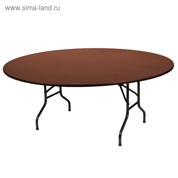 """Складной стол """"Лидер 3"""", диаметр 1200 мм, ножки чёрные, столешница орех"""