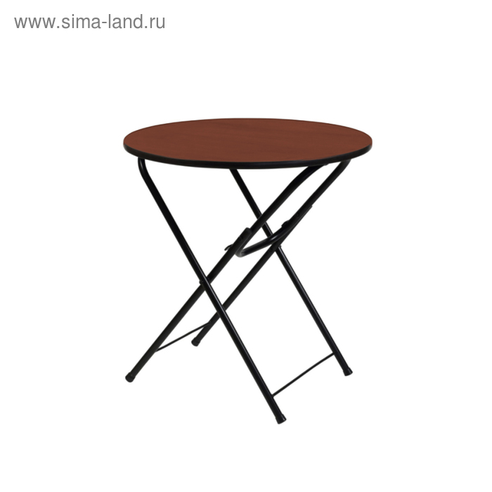 """Складной стол """"Лидер 4"""", диаметр 700 мм, ножки чёрные, столешница орех"""