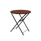 """Складной стол """"Лидер 4"""", диаметр 800 мм, ножки чёрные, столешница орех"""