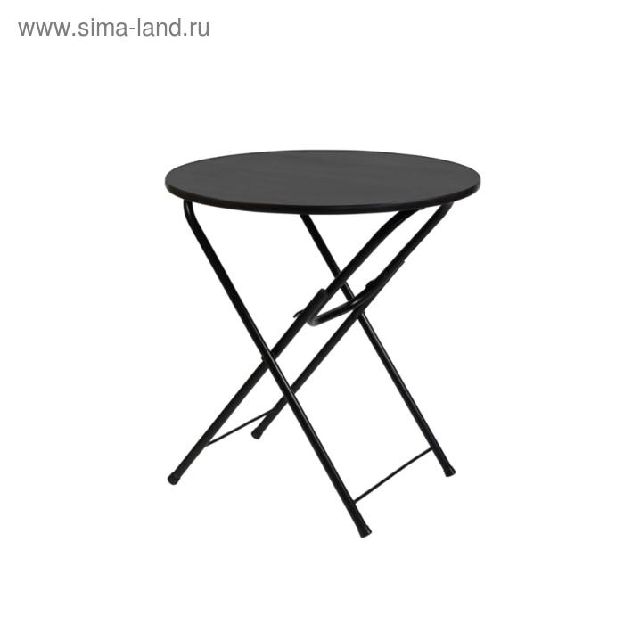 """Складной стол """"Лидер 4"""", диаметр 900 мм, ножки чёрные, столешница венге"""