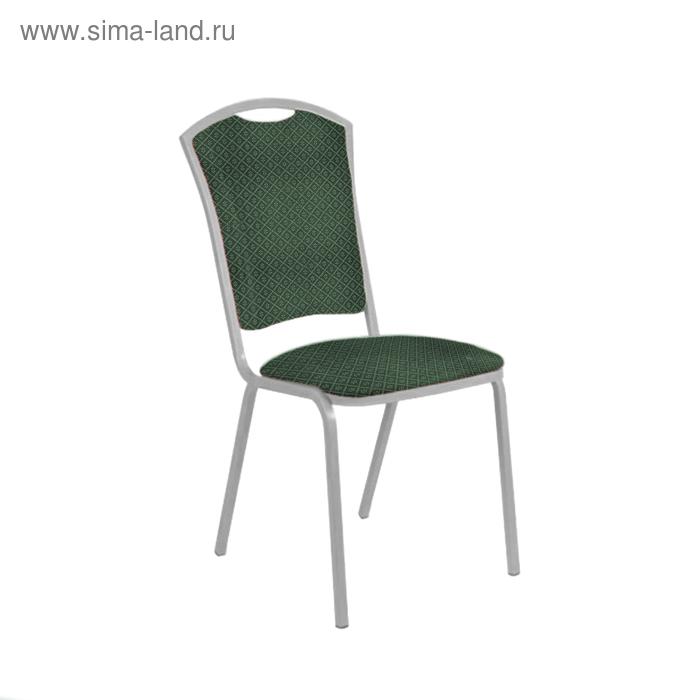 "Банкетный стул ""Патрик Лайт"" 20 мм, каркас серебро, обивка ромб зеленый"