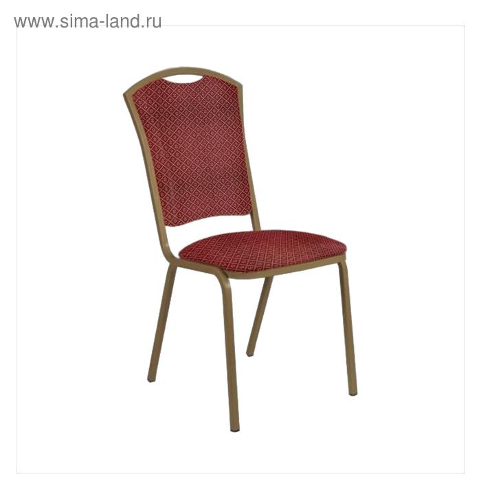 "Банкетный стул ""Патрик Лайт"" 20 мм, каркас бронза, обивка ромб красный"