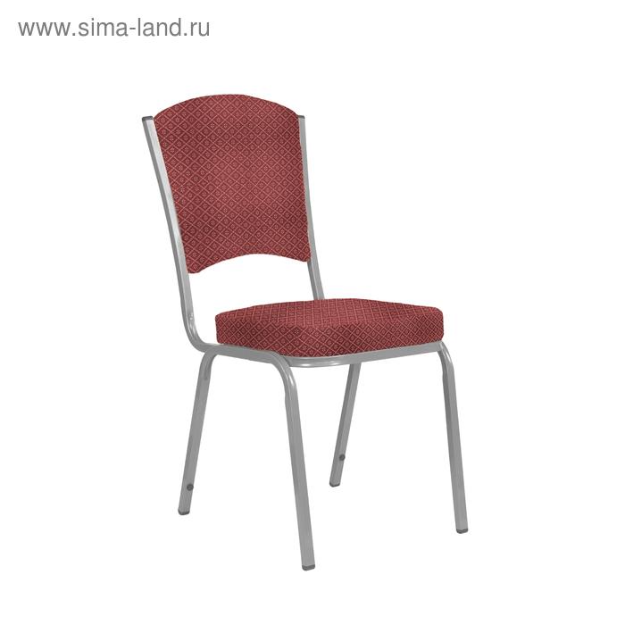 """Банкетный стул """"Вертекс"""" 20 мм, каркас серебро, обивка ромб красный"""