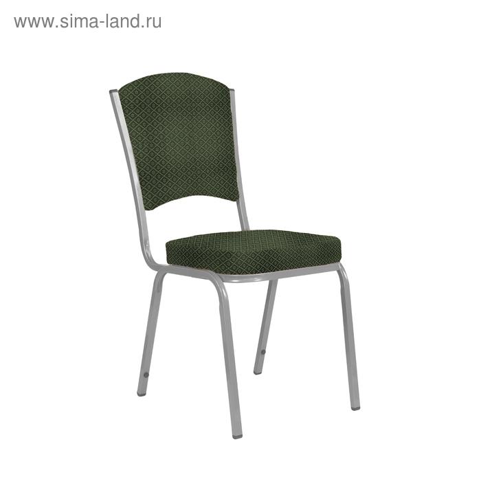 """Банкетный стул """"Вертекс"""" 20 мм, каркас серебро, обивка ромб зеленый"""