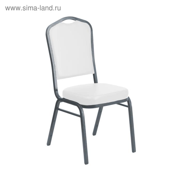 Банкетный стул 20 мм, каркас белый, обивка кожзам серый