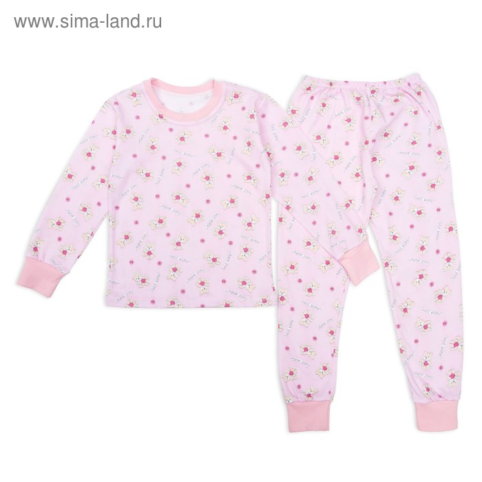 Пижама для девочки Мишки Sweet Baby, рост 128 см, цвет розовый