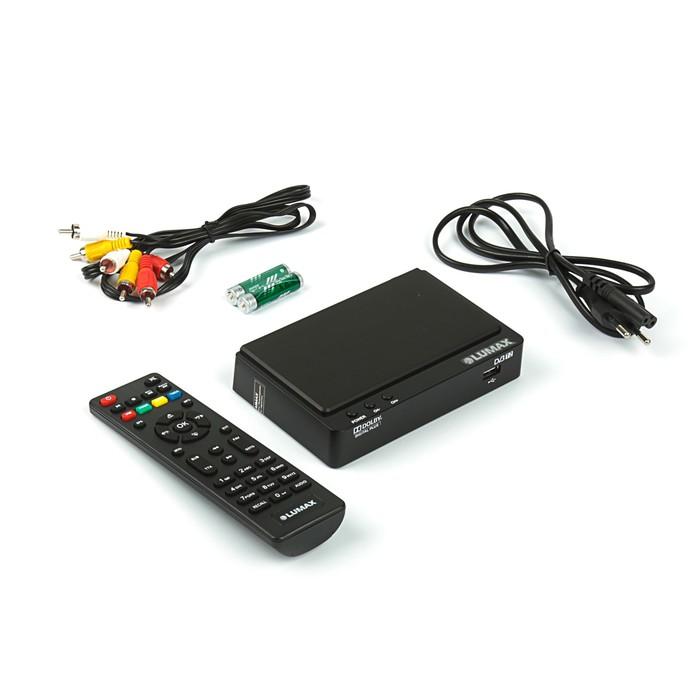 Приставка для цифрового ТВ Lumax DV2105HD, FullHD, DVB-T2, дисплей, HDMI, RCA, USB, черная