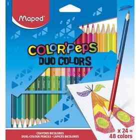 Карандаши трёхгранные двухсторонние 48 цветов - 24 штуки, Maped Color Peps, европодвес