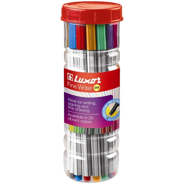 Набор ручек капиллярных 20 цветов Luxor Fine Writer 045, узел 0.8 мм