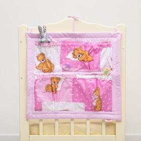 Органайзер на детскую кроватку горошек на розовом + мишки на розовом, синтепон, бязь 140г/м   286975 Ош
