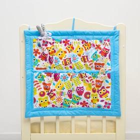 Органайзер на детскую кроватку горошек на голубом + совята,  синтепон, бязь 140г/м Ош