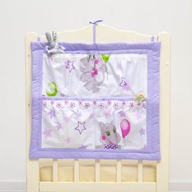 Органайзер на детскую кроватку горошек на фиолетовом/карманы бегемотики, синтепон, бязь 140г   28697 Ош