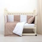 Комплект в кроватку (4 предмета), диз. звезды на шоколаде/звезды ментол на белом, синтепон