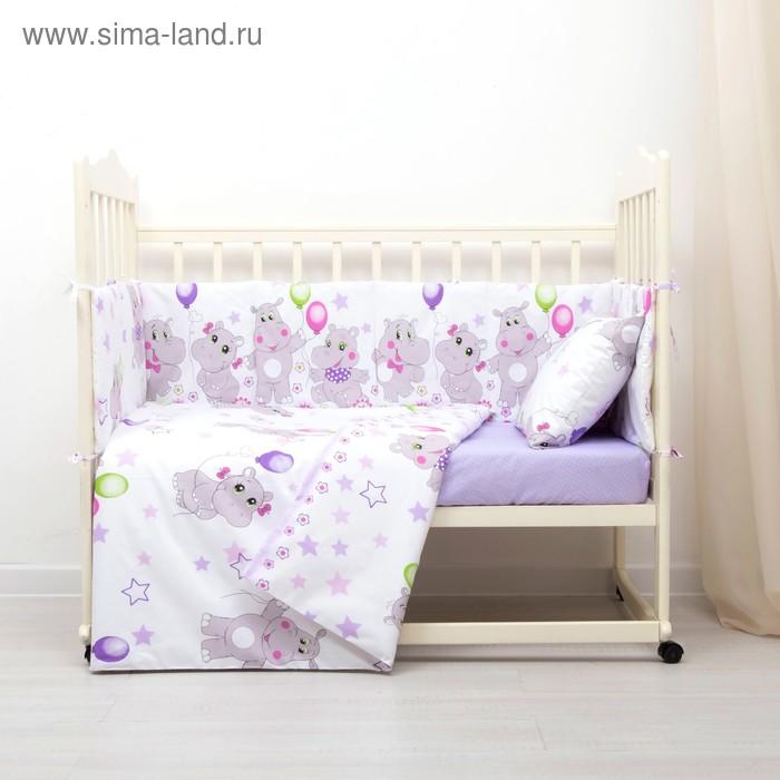 Комплект в кроватку (4 предмета), диз. бегемотики/горошек на фиолетовом