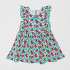 Платье для девочки, рост 86 см, цвет мятный, принт цветы Л916_М