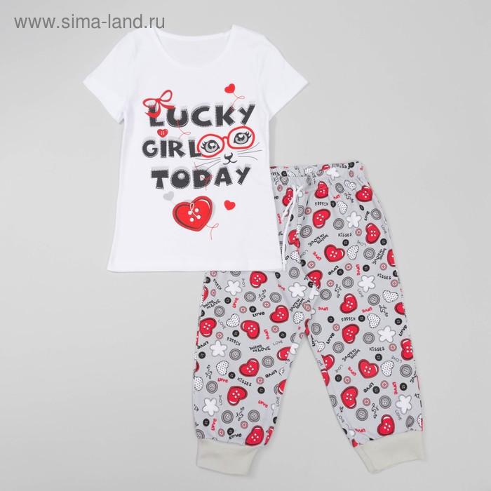 Комплект для девочки (футболка+бриджи), рост 122 см, цвет белый(набивка) Л940-3922