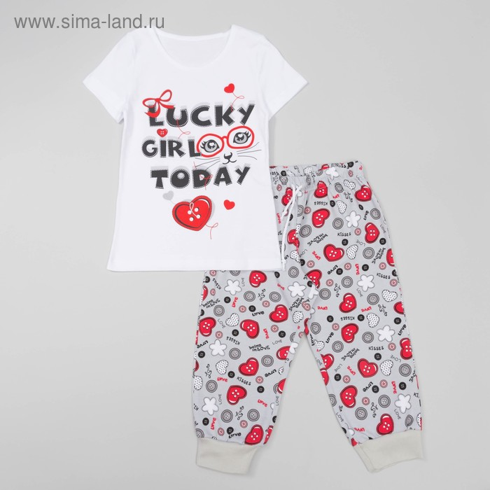 Комплект для девочки (футболка+бриджи), рост 128 см, цвет белый(набивка) Л940-3922