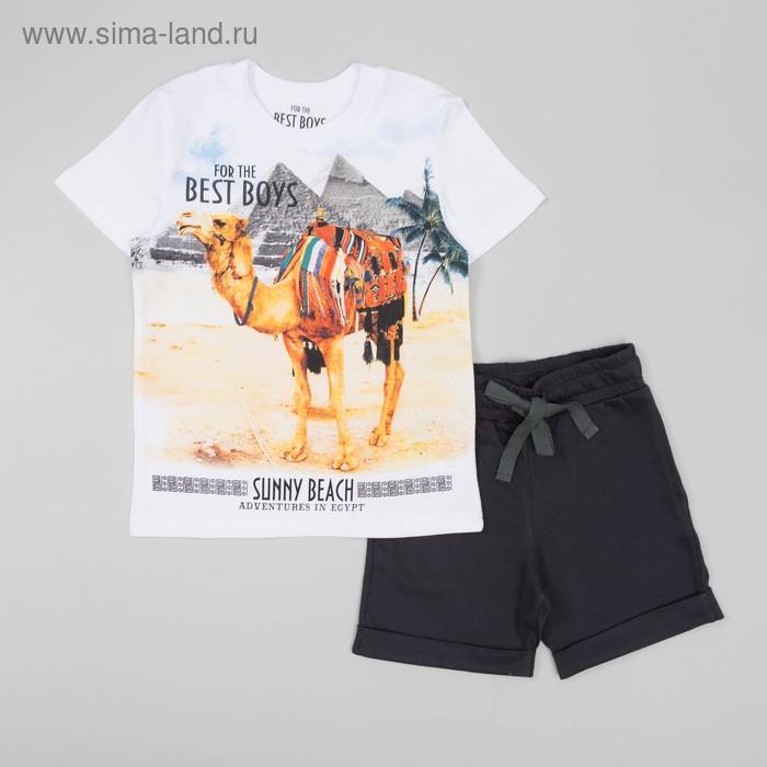 Комплект для мальчика (футболка+шорты), рост 110 см, цвет серый/белый Н987-3686