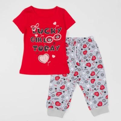Комплект для девочки (футболка+бриджи), рост 110 см, цвет красный(набивка) Л940-3922