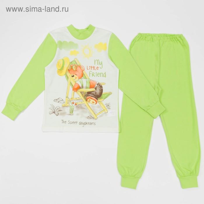 Пижама для мальчика, рост 116 см, цвет зелёный/ремовый, М319-4015