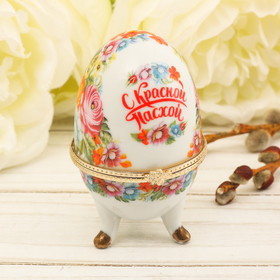 Пасхальная Яйцо-шкатулка «Жостово», 7,5 см