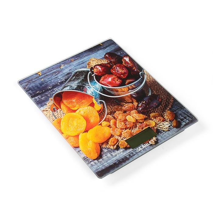 "Весы кухонные Scarlett SC-KS57P33, электронные, до 8 кг, стекло, ""Сухофрукты"""