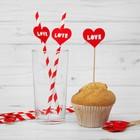 Набор для праздника LOVE, 5 трубочек, 5 шпажек, цвет красный