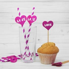 Набор для праздника LOVE, 5 трубочек, 5 шпажек, цвет фиолетовый