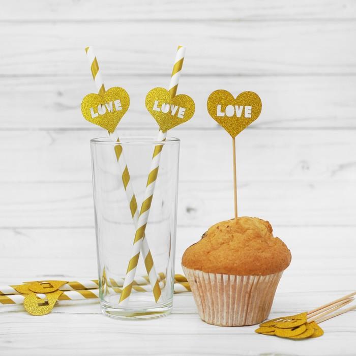 Набор для праздника LOVE, 5 трубочек, 5 шпажек, цвет золотой - фото 950989