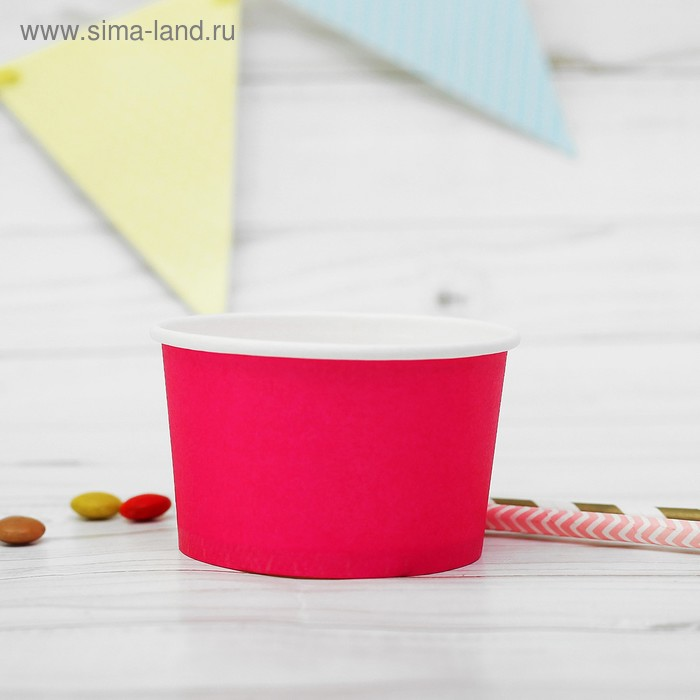 Креманка для десерта бумажная, цвет фуксия (набор 10 шт.)