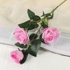 """Цветы искусственные """"Роза Фиона"""" три бутона 8*70 см розовая"""