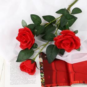 "Artificial flowers ""rose Fiona"" three Bud 8*70 cm red"