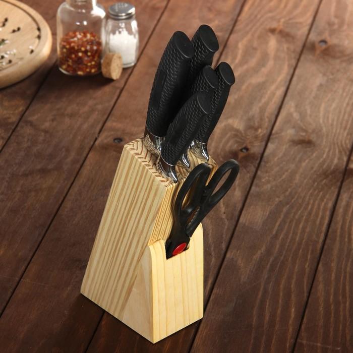 Набор кухонный, 6 предметов: 5 ножей 8,5/12/12/19,7/19 см, ножницы, цвет чёрный
