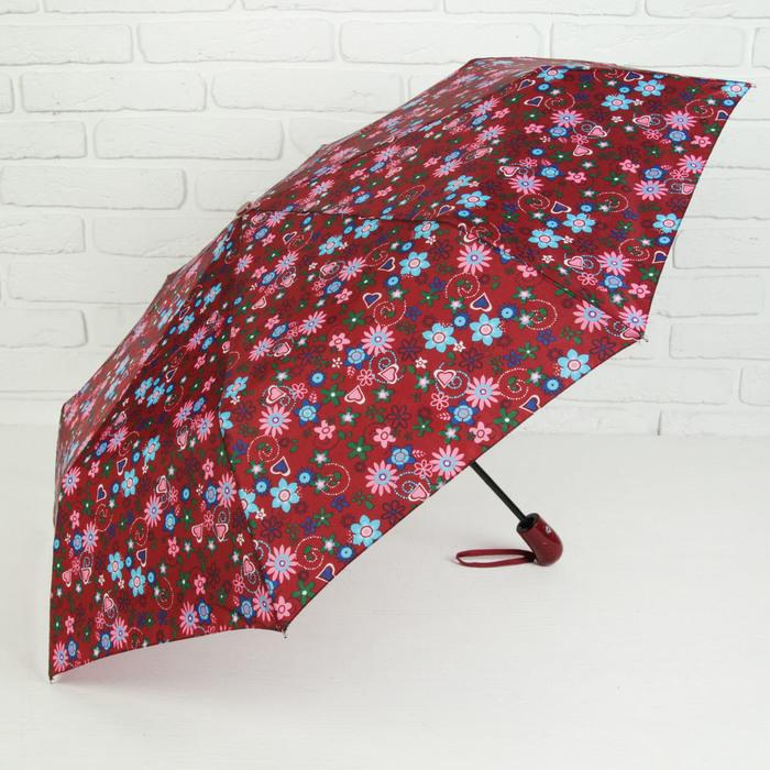 Зонт автоматический «Сердца и бабочки», 3 сложения, 8 спиц, R = 49 см, цвет бордовый