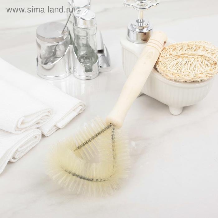 Щетка для чистки посуды 24х11х4 см, ПВХ щетина, деревянная ручка