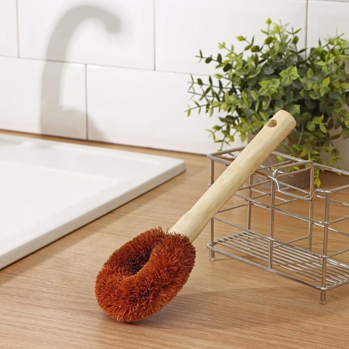 Щётка для чистки посуды Доляна, 23×9×3,5 см, щетина кокос, деревянная ручка - фото 4648079