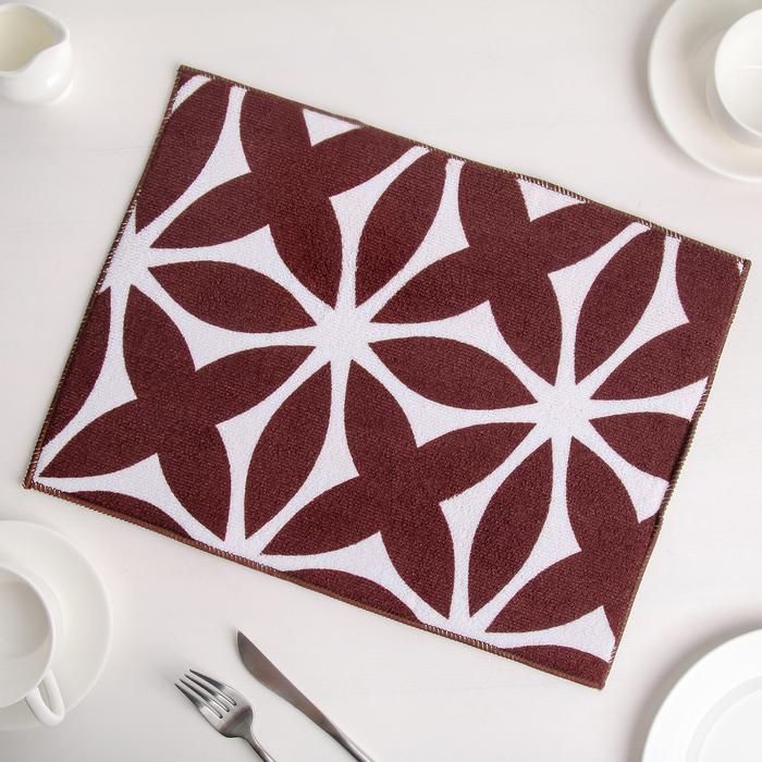 """Коврик для сушки посуды 30×40 см """"Призма"""", микрофибра, цвет коричневый"""
