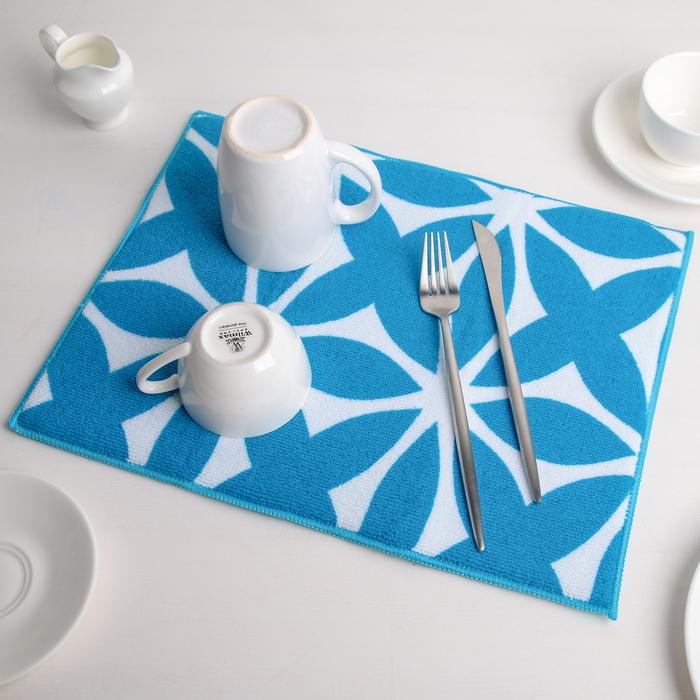 """Коврик для сушки посуды 30×40 см """"Призма"""", микрофибра, цвет голубой"""